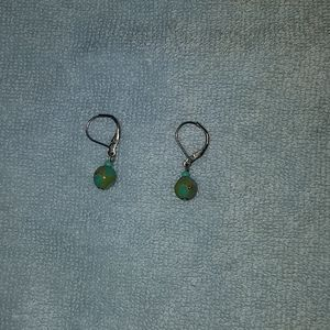 Turquiose blue and green colored stone earrings